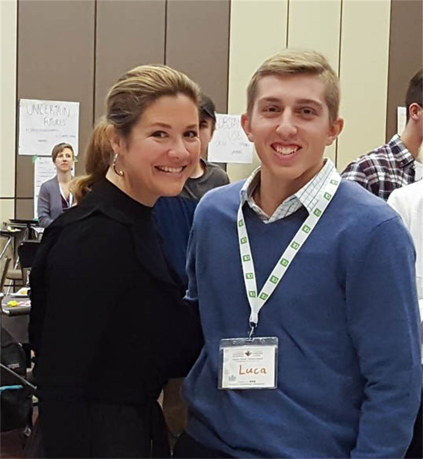 Luca Ramelli meets Sophie Gregoire Trudeau at the National Youth Summit.