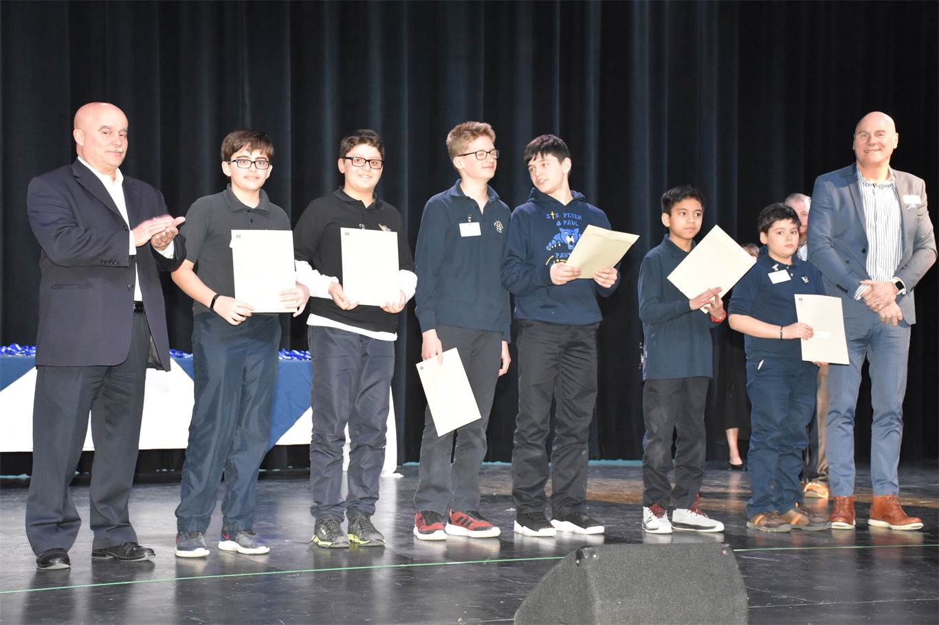 OECTA Secondary President Sergio Cacoilo and Assistant Superintendent Greg Tabone present Environmental Awards to the highest scoring projects in the category of Environment Sciences. Pictured, from left to right, are Sergio Cacoilo, Adam Cabrera, Giuseppe Palermo, William Tremblay, Alexandru Atanasoaei, William Cagas, Andrei Patrau, and Greg Tabone.