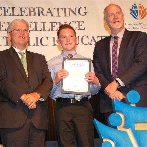 From left to right: Chairperson Patrick Daly, Christopher Lamont, and Director of Education David Hansen. Christopher, a Grade 7 student at St. Margaret Mary CES, was the recipient of the BASEF Canada Wide Science Fair Trip Award.